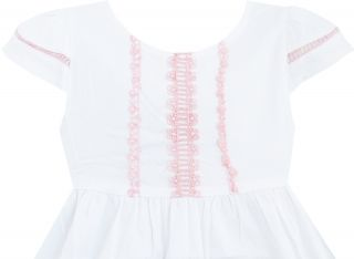 Baby Girls Dress White Embroider Flower Pleated Cute Kids Clothes Size 24M 4 New