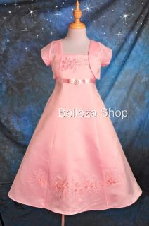 Pink Flower Girls Party Pageant Dress Size 5 6 DP39BB