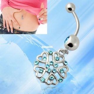 Surgical Steel Blue Rhinestone Heart Flower Navel Ring Belly Button Ball Barbell