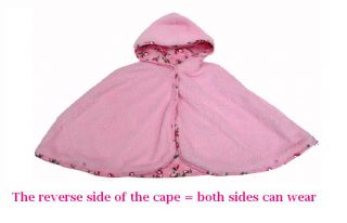 Princess Baby Girl Pink Strawberry Cape Poncho Hoodie Coat Jacket Fleece Layer