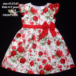 Gymboree Floral Baby Girls White Dress Red Rose Flower Kid 5 7 Years