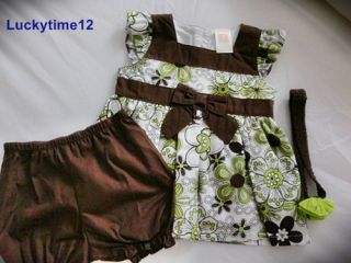 New Set 3 Pices Baby Girls Clothing Flower Print T Shirt and Pants Size 6M