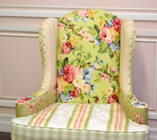 Shabby Cottage Chic Rose Pink Sage Patchwork Wing Armchair Gingham