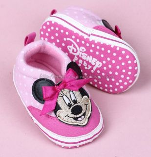Baby Girls' Minnie Mouse Polka Dot Soft Sole Slip on Walking Shoes Size 1 2 3