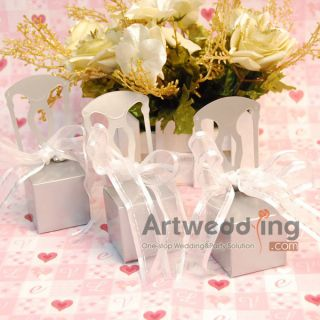120 Miniature Silver Chair Favor Boxes Wedding Ribbon