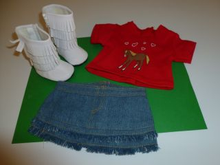 "Fits 18"" Doll Clothes Outfit Horse T Shirt Jean Skirt White Boots 3 PC Set"
