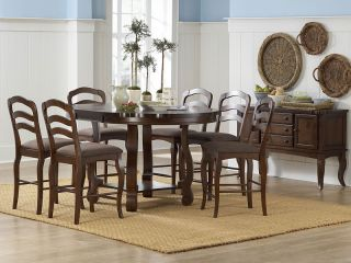 Jardin 7pcs Cottage Round Oval Counter Height Dining Room Table Chairs Pub Set