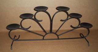 "Pillar Candle Holder Table Display or Use Fireplace Display Black Iron 30"" Long"
