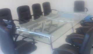 10' Modern Glass Conference Room Table 6' 11' Boardroom Meeting Office Table