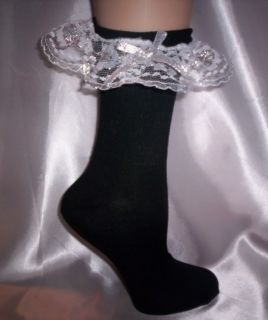 Custom Made Adult Sissy Womens Mens TV CD Sexy Black with Silver Bow Anklets