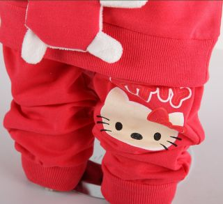 Hello Kitty Cute Baby Girl Animal Winter Fall Outfits Set T Shirt Pants Clothes
