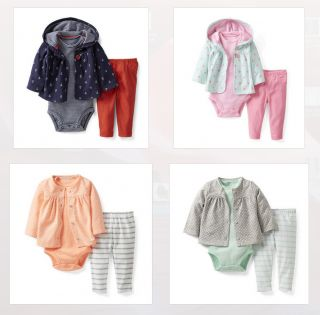 Carters' Baby Girl Clothing 3 Piece Outfit Set Blue Pink Orange 3 6 9 12 18 24M