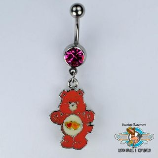 Love A Lot Bear Dangle Belly Ring Bar Double Heart Care Bear Navel Ring 14g