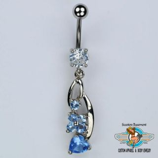 Flower and Heart Dangle Belly Ring Bar Blue CZ Navel Ring 14g B3