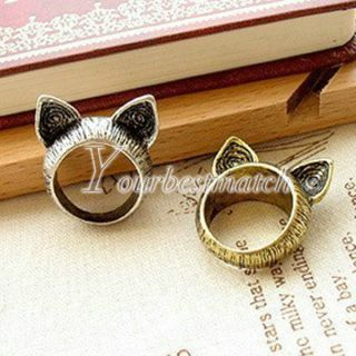 Fashion Women's Antique Brass Silve Lovely Cute Animals Cat Rings Wholesale
