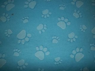 Flannel Blue Paw Print Dog Pup Bed Crate Pad Mat Cushion 17x26