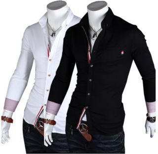 Hot Pop Korean Style Long Sleeve Solid Collar Men Slim Fit Dress Shirts Casual