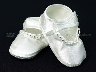 Newborn Infant Baby Girl White Rhinestone Baptism Crib Shoes A678