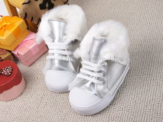 New Toddler Baby Girl Boy Smart Silver Fur Boots Shoes UK Size 1 2 3 A920
