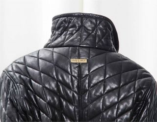 Baby Phat Black Genuine Leather Quilted Zip Up Knee Length Jacket Car Coat M