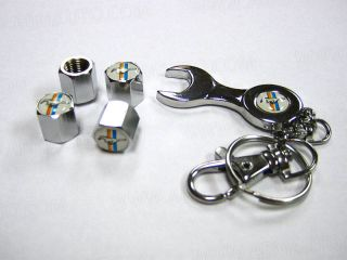 Keychain Chrome Tire Valve Caps Ford Mustang Wheel Stem Dust Covers 4 Set