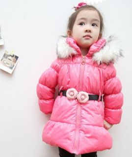 Saucy Girls Lamb Velvet Lining Faux Fur Hoodie Warm Coat Kids Snowsuit Rose Belt