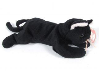 Candy Spelling's Beanie Baby Zip Cat All Black 1st Gen Tush Tag 4004 1993 Ty