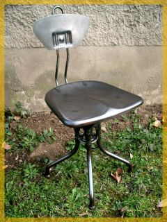 French Machine Age Stool Industrial Metal Chair Flambo