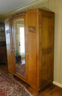 Antique French Armoire Wardrobe Art Deco Fitted with Shelves Full Mirror