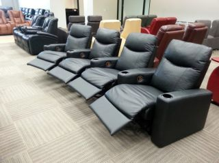 Coaster 7537 Home Theater Seating 4 Seats Manual Recliners Black Chairs