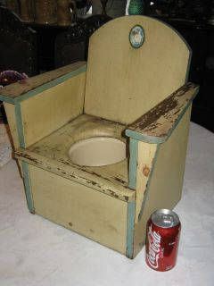 Antique Art Deco Baby Wood Enamel Potty Training Plant Holder Chair Child Art