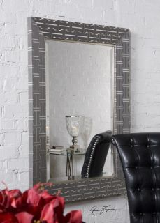 Contemporary Textured Wrap Wood Beveled Wall Mirror Metallic Silver Modern Large