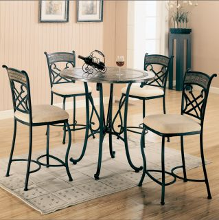 Ardith Black 5 Piece Pub Table Dining Room Set Table 4 Bar Stools Coaster