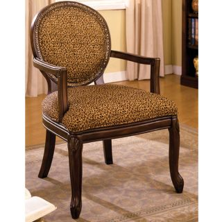 Antique Walnut Finish Leopard Print Fabric Accent Chair