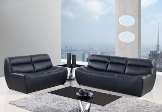 Modern Contemporary Black Bonded Leather Sofa Love Seat 2 Peice Set