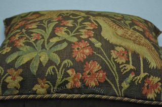 "20"" Antique Repro French Aubusson Tapestry Weave Birds Decorative Pillow Cushion"