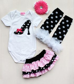 Newborn Infant Baby Girl Headband Romper Leg Warmer Shorts Pants Outfit Clothes