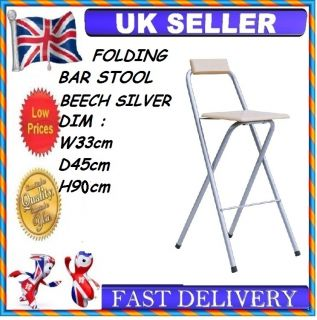 2 x Beech Wooden Wood Folding Breakfast Bar Stool Kitchen Folding Chair Garden