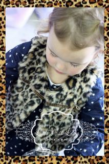 Baby Girl Toddler Leopard Print Vest Jacket Top Faux Fur Fluffy Lined Warm Coat