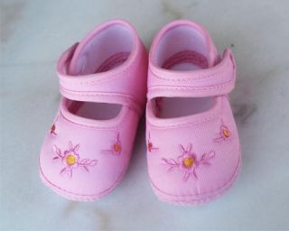 Pink Embroidery Flower Baby Girls Warm Cotton Cloth Shoes Soft Bottom