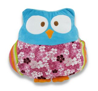 Incredibly Cute Plush Floral Owl Throw Pillow Color Blue