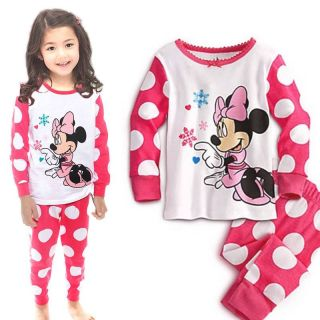 "Baby Toddler Girls Kids Loungewear ""Minnie Mouse"" Polka Dot Pajamas Sets Gift 5T"