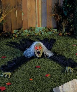 Creepy Halloween Witch Glowing Eyes Outdoor Light Yard Decor Animated Sound Prop