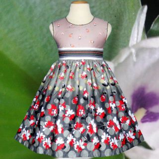 Baby Girls Dress Kids Brown Gray Flower Birthday Party Summer Clothes Size 4 5