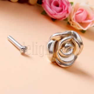 Antique Silver Rose Door Cabinet Drawer Furniture Knob Handle Pull Hardware 35mm
