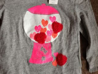 Baby Gap Girls Grey Neon Pink Gumball Machine Motif T Shirt 2 Years New