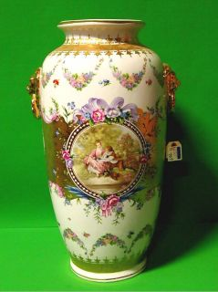 Fragonard French Hand Painted Porcelain Urn Signed
