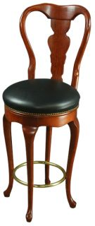 Pair Queen Anne New Bar Stools Mahogany Faux Leather Swivel Seats