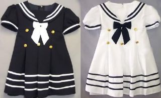 Girls Sailor Nautical Navy Dress s M L XL 2T 3T 4T