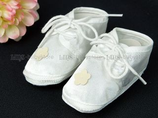Newborn Infant Baby Girl White Ivory Flower Crib Shoes A677